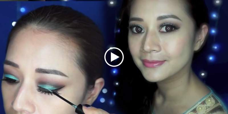 Eid Makeup Tutorial How To Apply Glittery Blue Teal Makeup For
