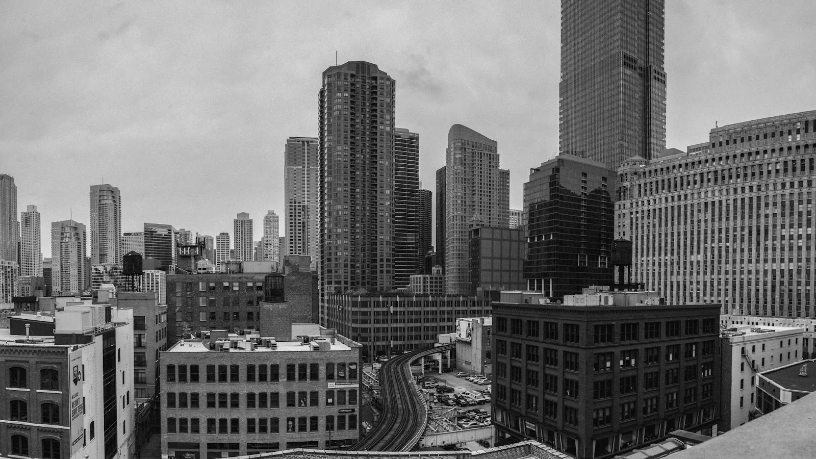 Black and White Chicago Pano