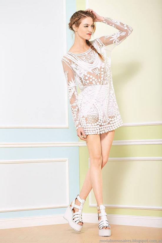 Moda vestidos primavera verano 2015. Tendencia texturas delicadas y transparencias. Uma 2015.