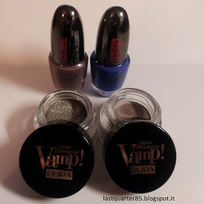 Cream Eyeshadow Vamp in 200 e 400, Lasting Color Gel in 026 e 054 (da sinistra a destra).