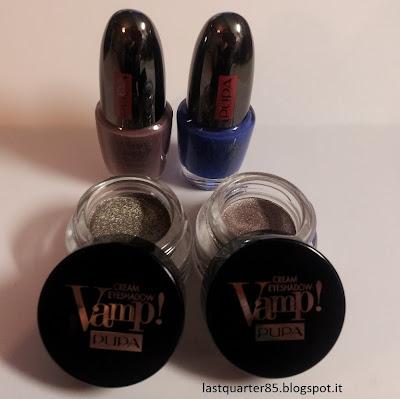 Cream Eyeshadow Vamp in 200 e 400, Lasting Color Gel in 026 e 054 (da sinistra a destra).