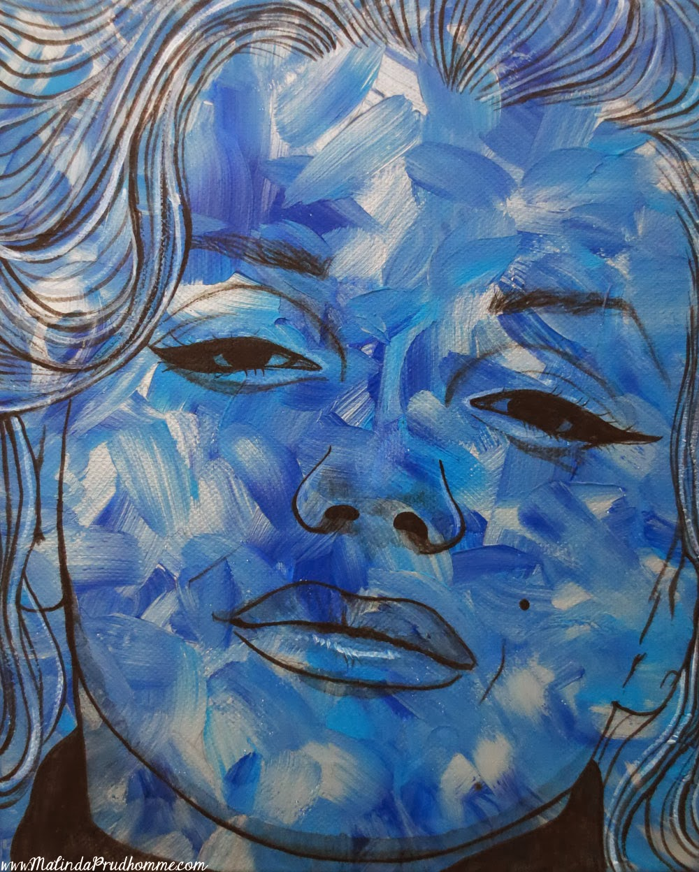 vintage pop beauties, blue pop marilyn, marilyn monrow, pop art, original artwork, custom painting, malinda prudhomme, acrylic painting, toronto artist