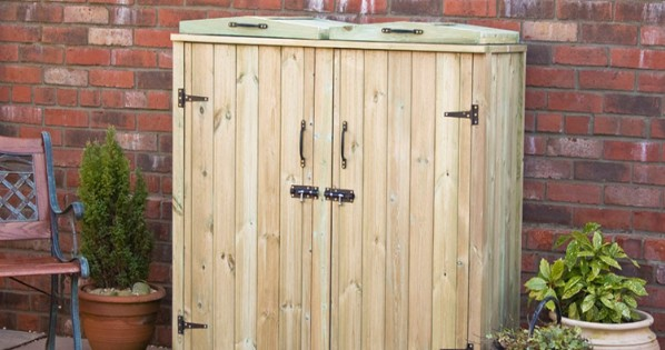 Wooden Double Wheelie Bin Cover