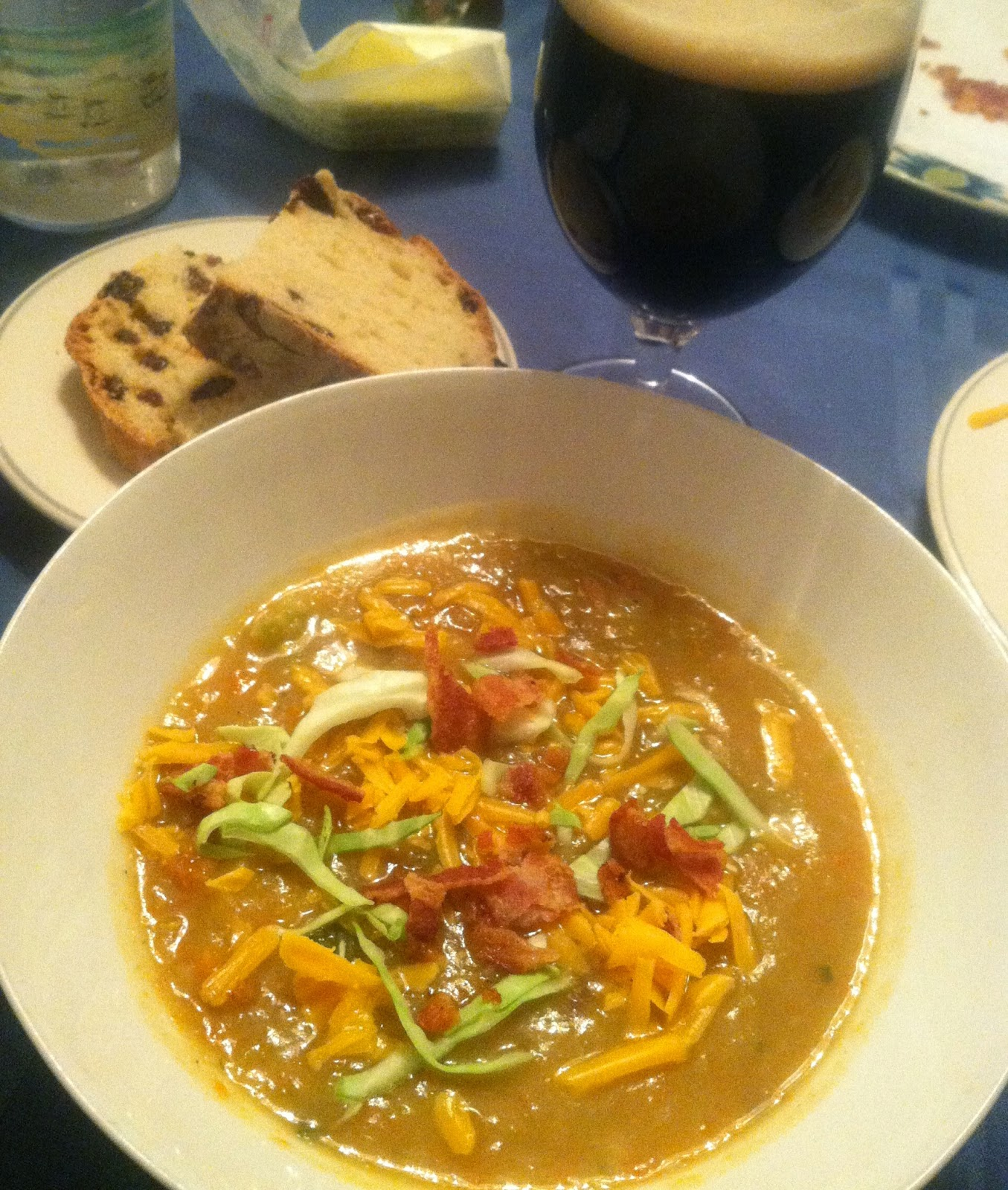 Irish Potato Cabbage Soup served with Bacon, Cheddar, Guinness and Soda Bread. Cooking Chat recipe.