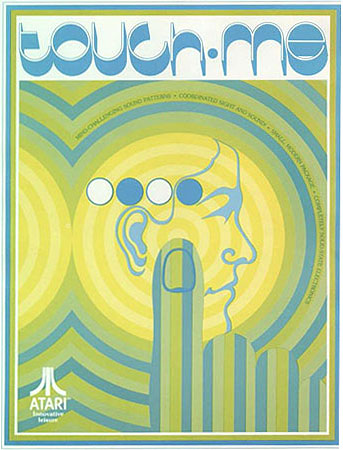 Atari 1974 Touch Me poster. Slightly abstract painting of the game buttons radiating sound merged with a finger and head.