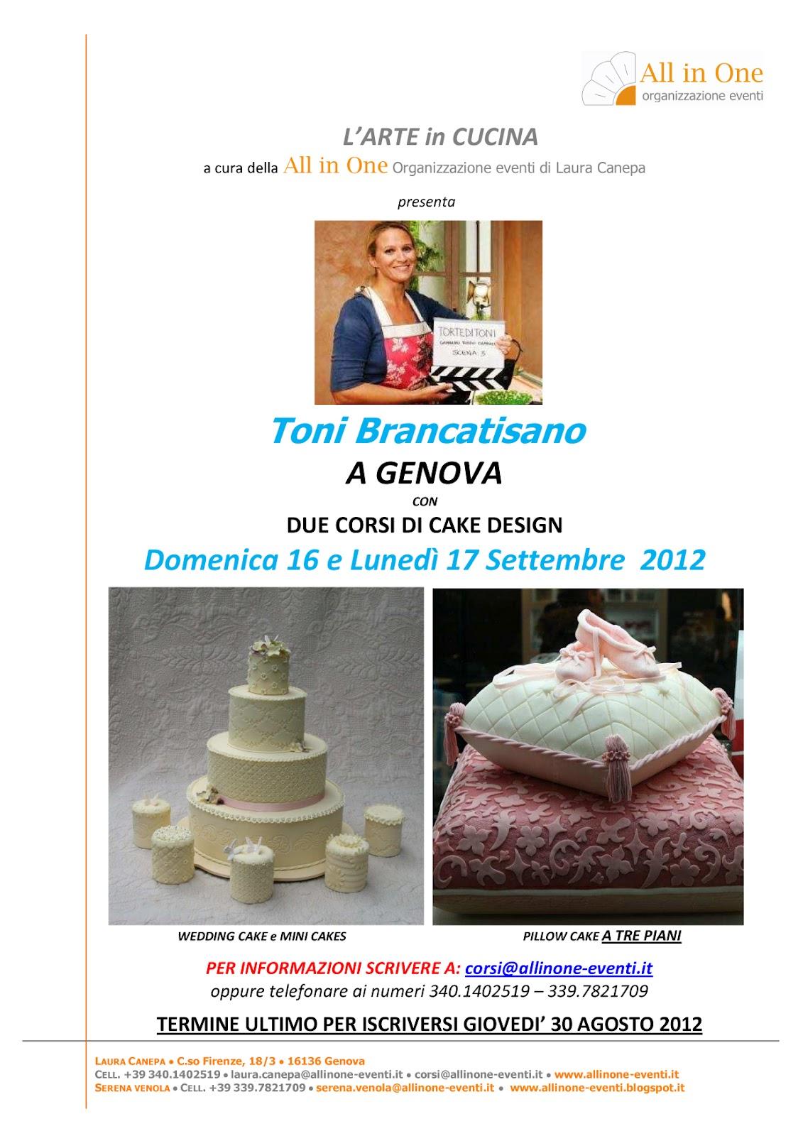 All in one organizzazione eventi toni brancatisano a genova con wedding cake e mini cakes e - Corsi di cucina genova ...