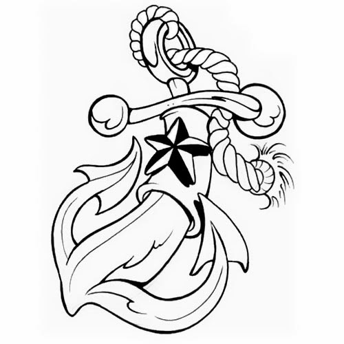Anchor cartoon tattoo stencil