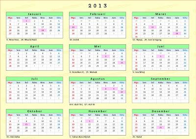 contoh gambar kalender 2013