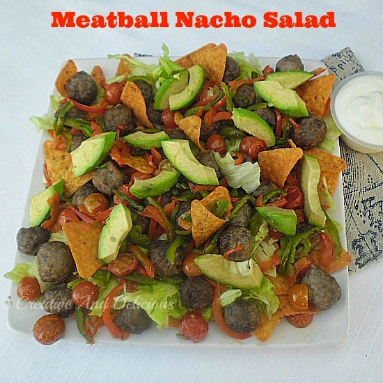 Meatball Nacho Salad ~ Filling enough for a light dinner and perfect for lunch or as a party snack #Salad #NachoSalad #LightDinner #Lunch