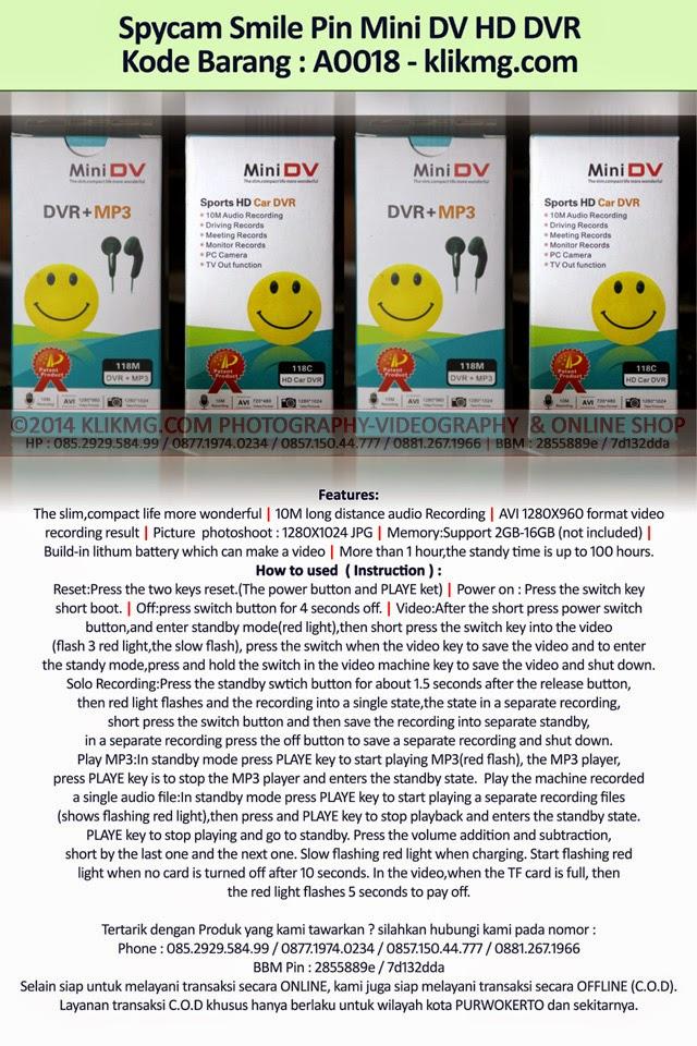 Spycam Smile Pin Mini DV HD DVR - Kode Barang : A0019