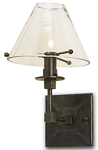clear glass shaded sconce