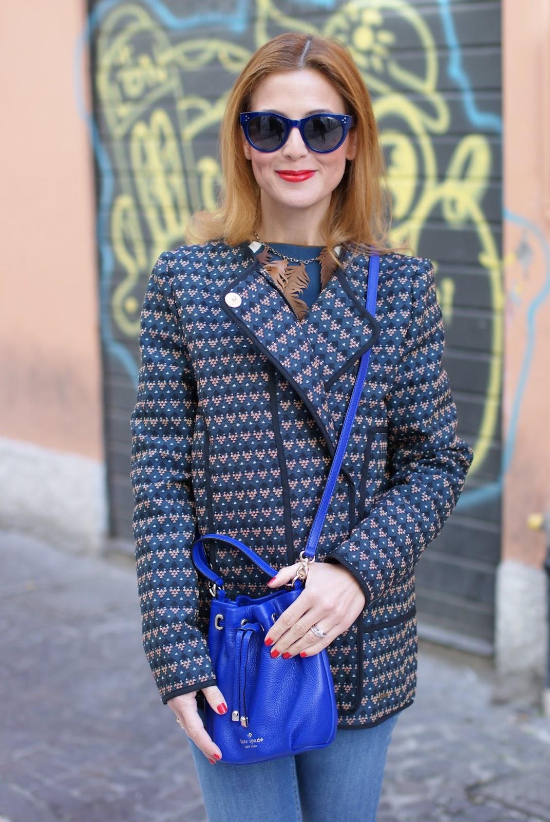 Kate Spade Wyatt mini bucket bag and Paramita jacket on Fashion and Cookies fashion blog, fashion blogger style