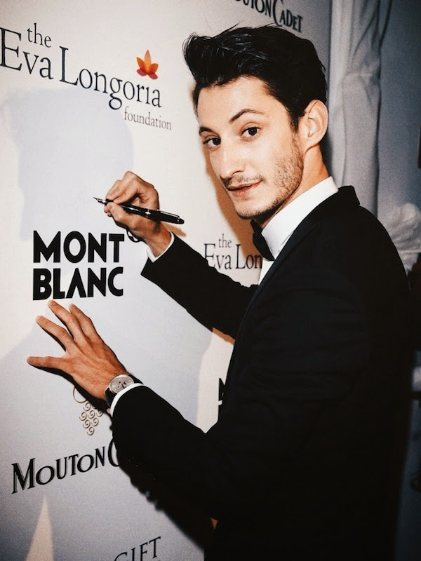 Pierre Niney in Dior Homme and Meisterstück Heritage Perpetual Calendar watch - 'How to Train Your Dragon 2' Premiere #Cannes2014