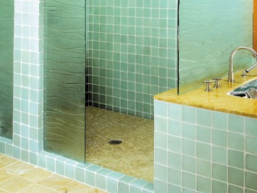 Roman elements blog inspiration eco friendly bathrooms - Recycled glass tiles bathroom ...