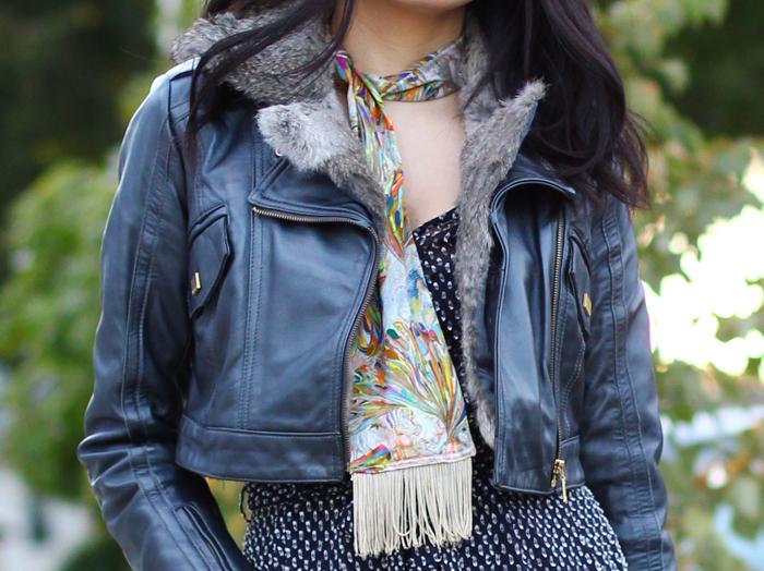ootd vintage skinny scarf with jumpsuit