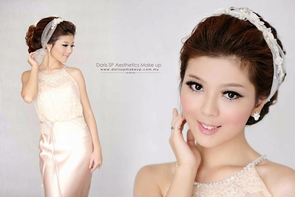 sash on hair ivory gown