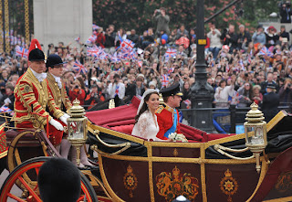 After saying 'I will' at Westminster Abbey, the happy couple departed for their reception by horse-drawn carriage to the tolling of the abbey's bells