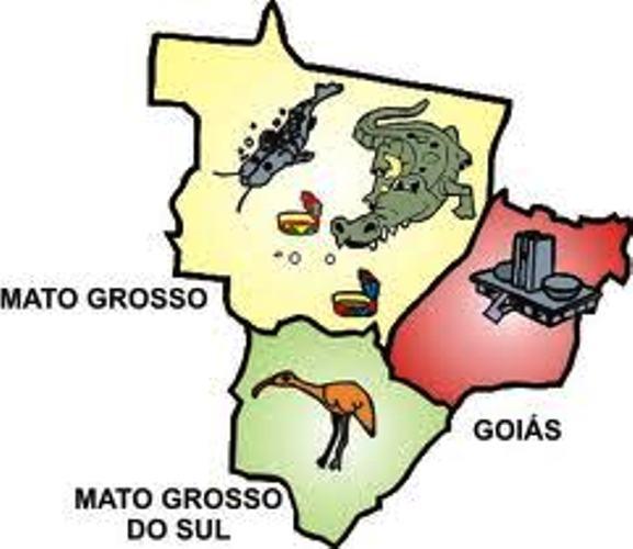 Estados que compõem a Região Centro-Oeste – Mato Grosso, Mato Grosso do Sul e Goiás.