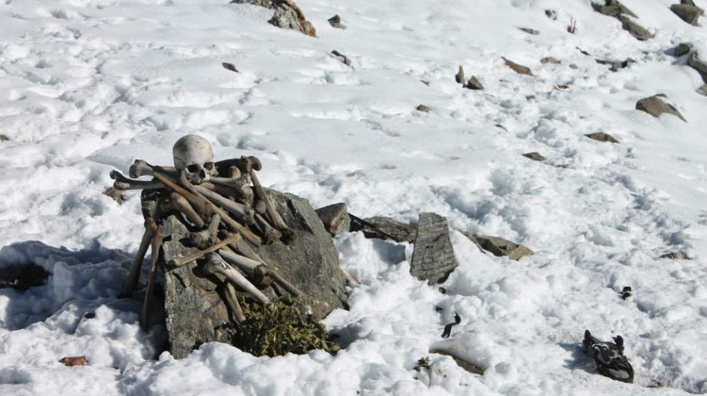 Well preserved skeletons at the Roopkund Lake