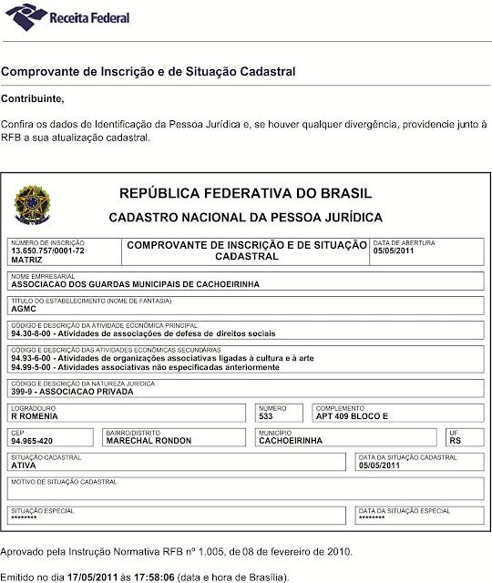 CNPJ da Associação dos Guardas Municipais de Cachoeirinha - RS.
