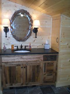 reclaimed oak vanity, soapstone top, slate floor, http://huismanconcepts.com/