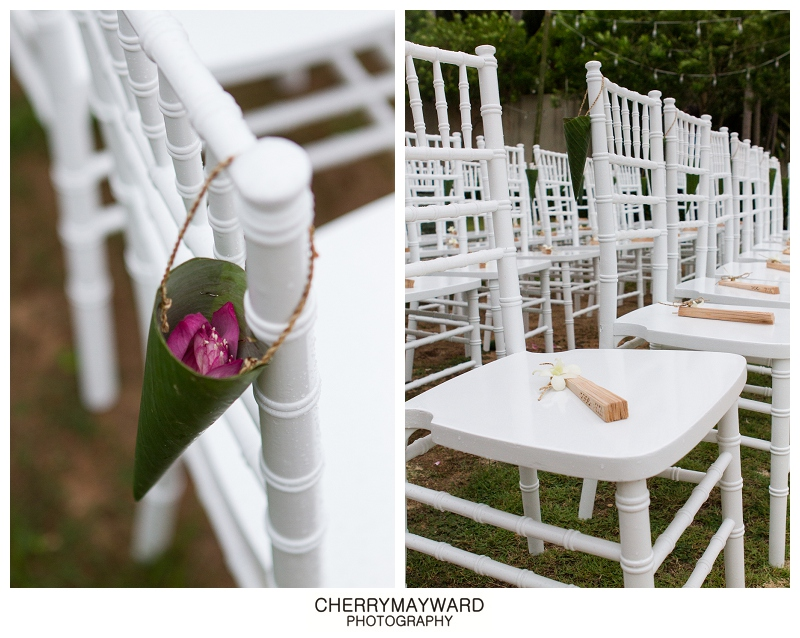 ceremony decoration and styling, chiavari chairs with petal confetti and hand fans, Koh Samui Wedding, decorations and styling by Partners Samui
