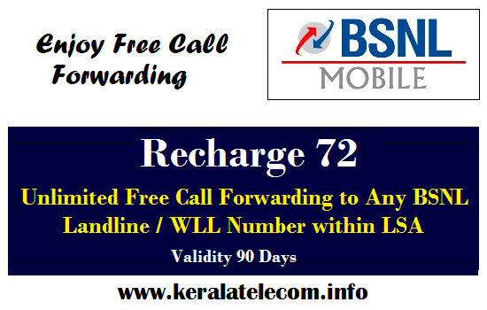 BSNL revises Free Call Forwarding STV, Now offers 90 days validity @ Rs 72 from 27th July 2015 onwards across India