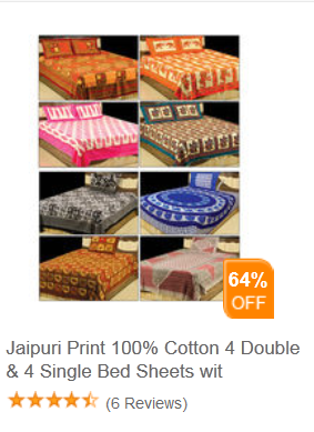 Buy Jaipuri bedsheets at Rs.499 and upto 40% cashback