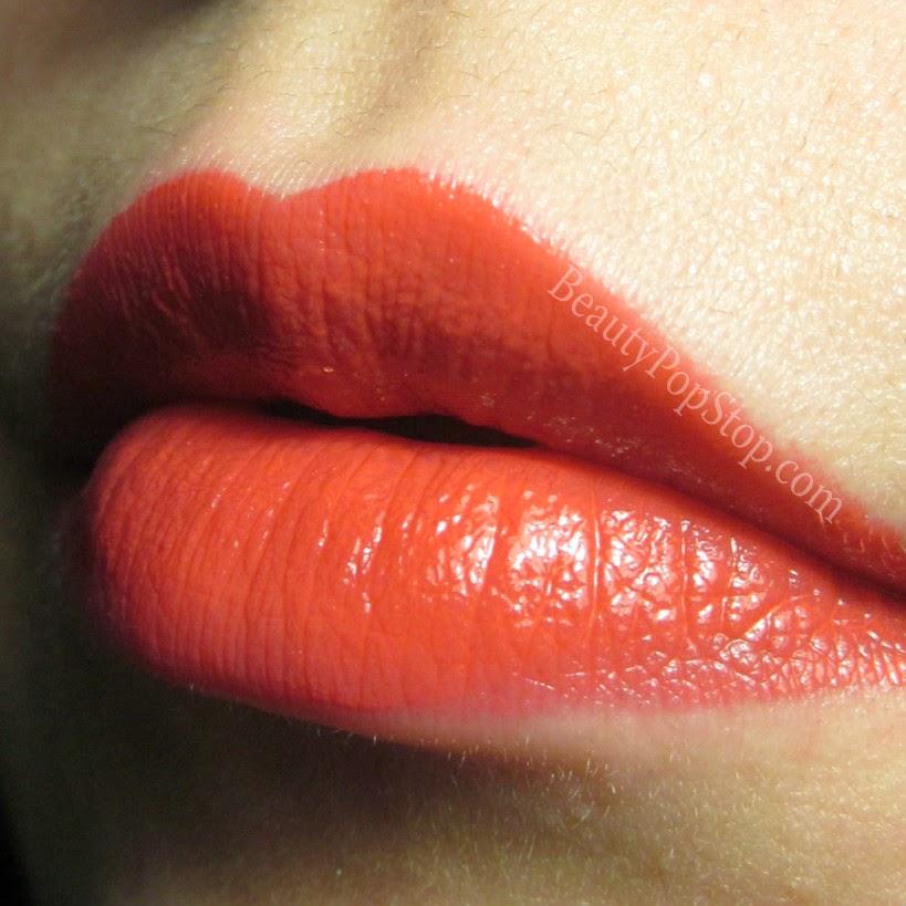 milani power lip lasting and moisturizing gloss stain mango tango swatch