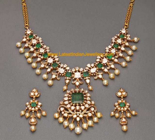 Polki and Emerald Necklace Set