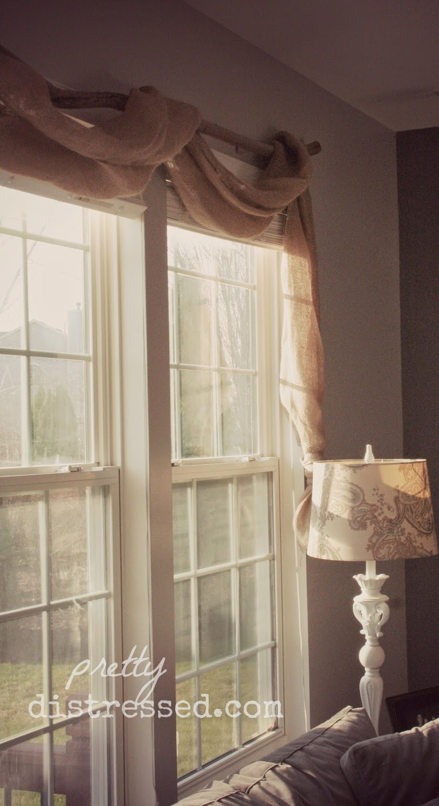 Burlap Valances For Windows : Pretty distressed pin spired diy country chic window