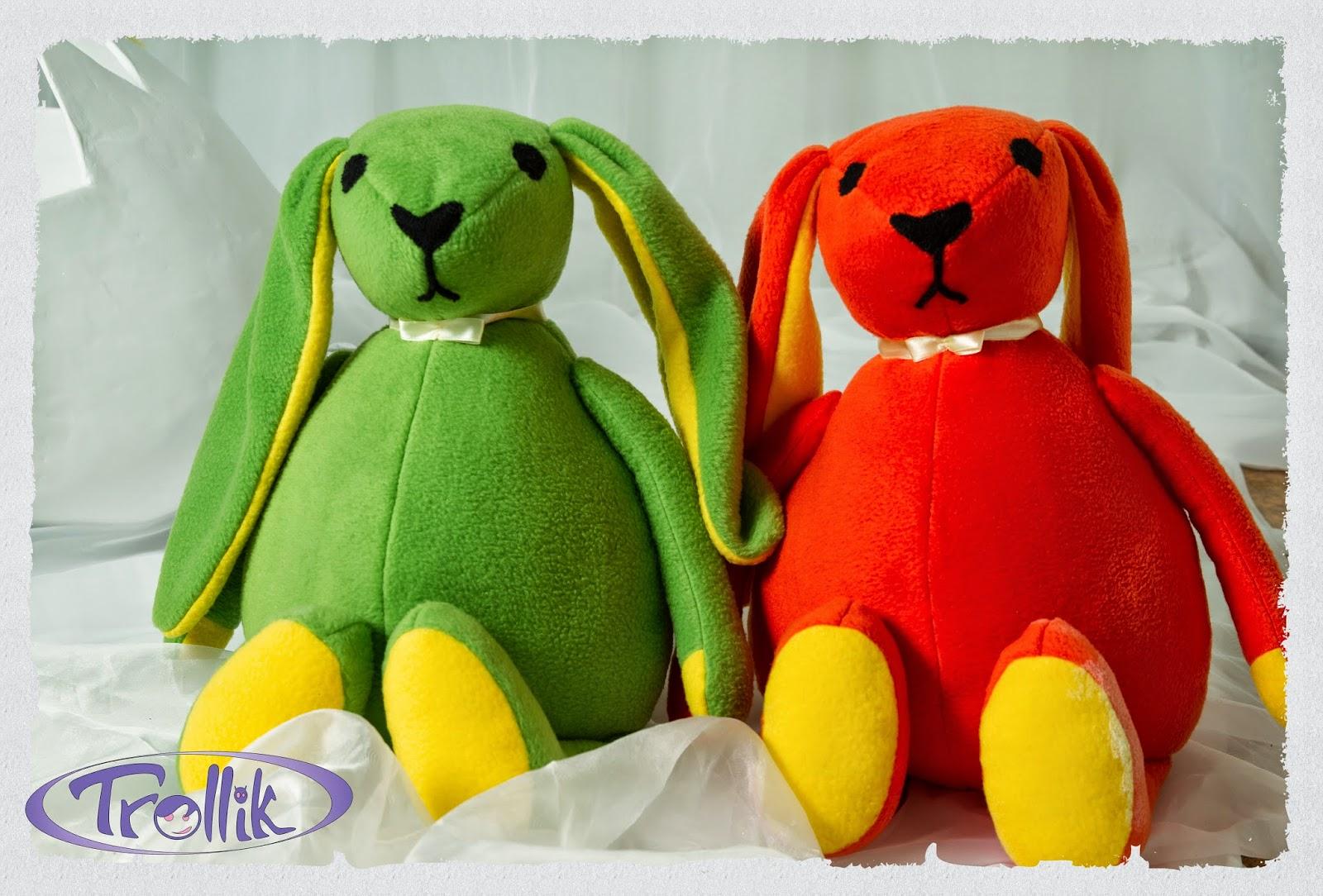 большие зайцы мягкие игрушки из флиса своими руками