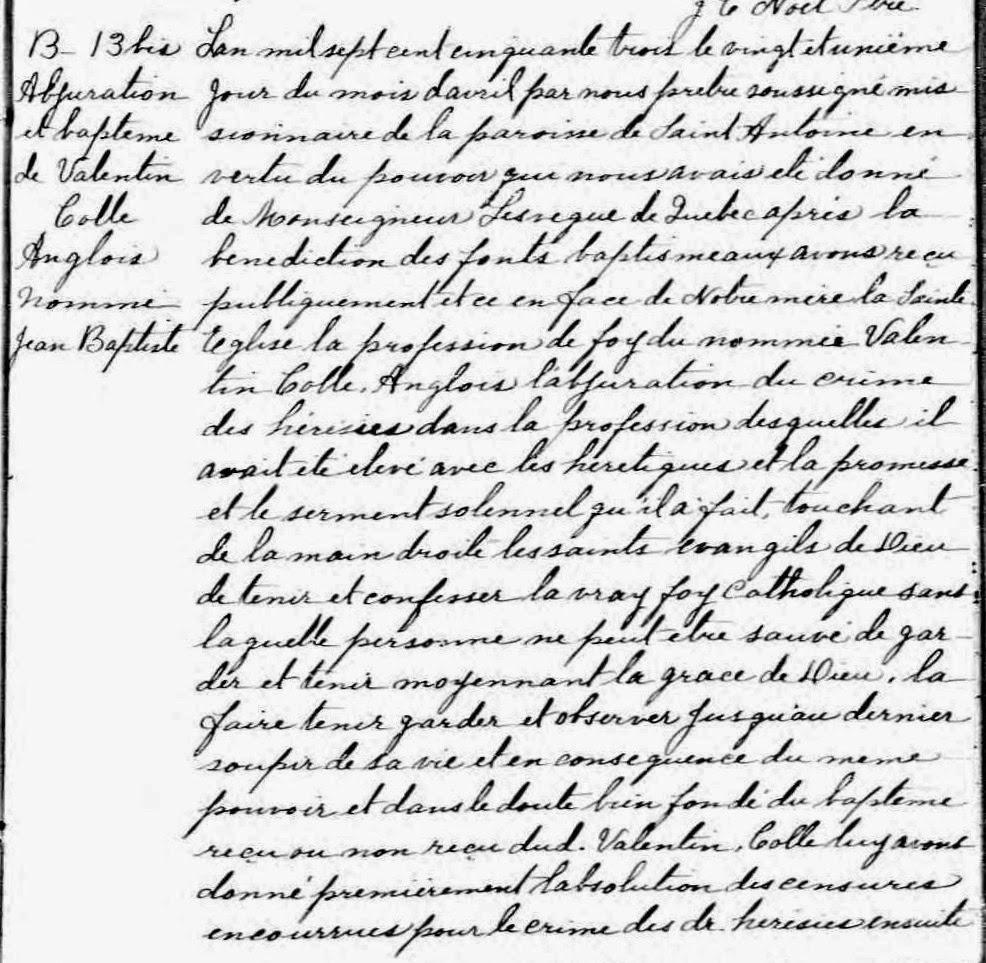 Valentin Cole baptism record