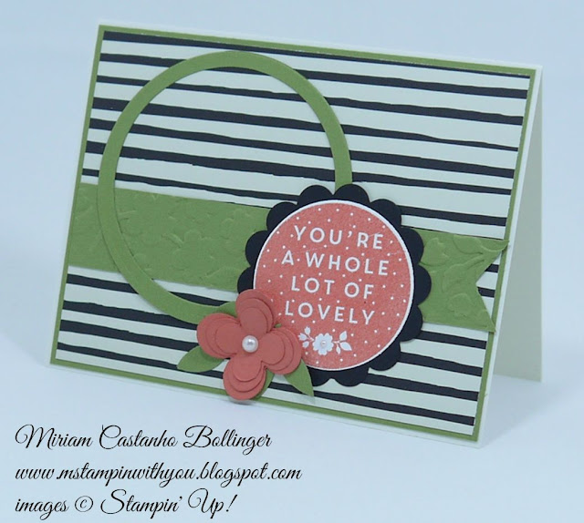 Miriam Castanho Bollinger, #mstampinwithyou, stampin up, demonstrator, all occasions card, dsc, farmer's market dsp, heat embossing, a whole lot of lovely, big shot, circle collections framelit, spring flowers TIEF, scallop circle punch, su