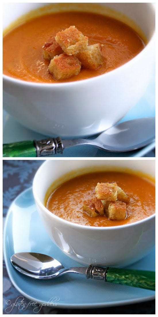 Slow Cooker (CrockPot) Curried Carrot Soup with Cornbread Croutons from Gluten-Free Goddess found on SlowCookerFromScratch.com
