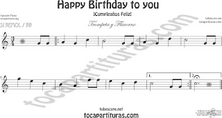 Trompeta y Fliscorno Partitura de Happy birthday to you (Cumpleaños Feliz) Sheet Music for Trumpet and Flugelhorn Music Scores