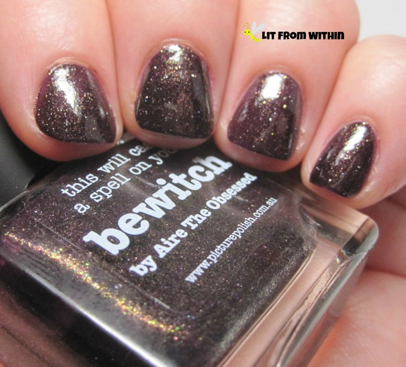 Picture Polish Bewitch, a plummy-brown with shimmer and maybe some flakies