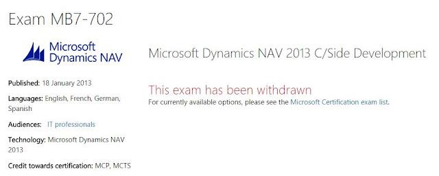 Microsoft Dynamics Nav 2013 Certification exam withdrawn