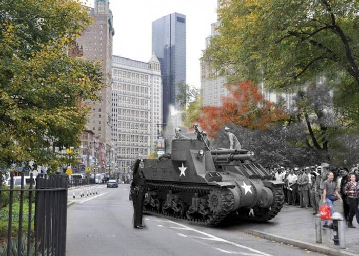 "July 22, 1943. 105-mm self-propelled gaubitsa M7 ""Priest"" (priest) drives past City Hall on the way to the building of the New York Public Library on 42nd Street, where it was exhibited as part of the military exposure."