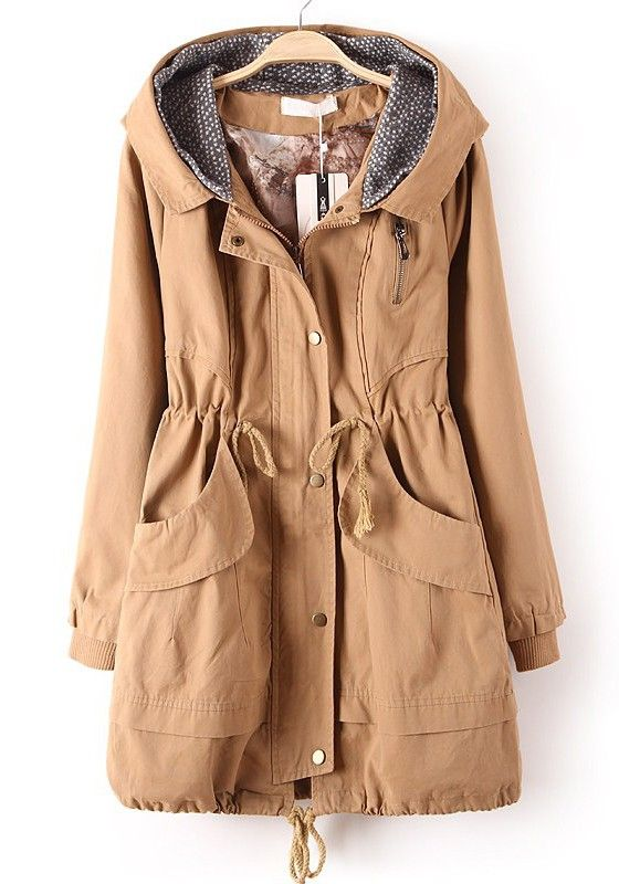 Khaki Zipper Drawstring Pockets Cotton Blend Trench Coat