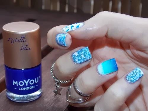 moyou london polish metallic blue, vernis moyou london metallic blue, moyou london nail lacquer metallic blue