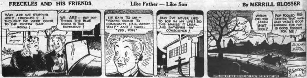 Image of the comic strip Freckles and Friends in which Freckles fools his father without lying to him.