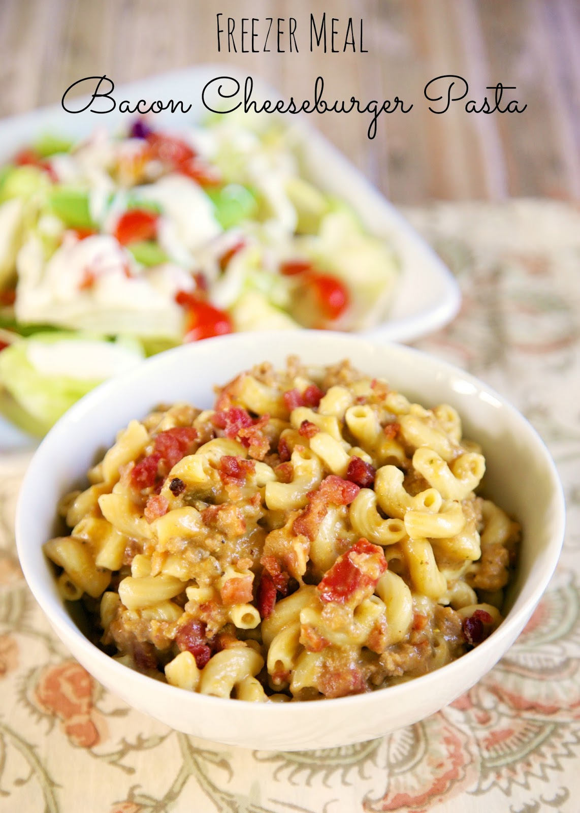 Freezer Meal} Bacon Cheeseburger Pasta | Plain Chicken