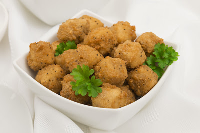 simple and super easy baby shower food ideas, dessert inspirations - fried popcorn chicken