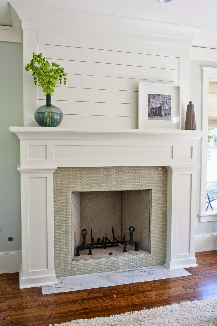 Shiplap and white molding on fireplace - Fireplace Options - Styles I Love
