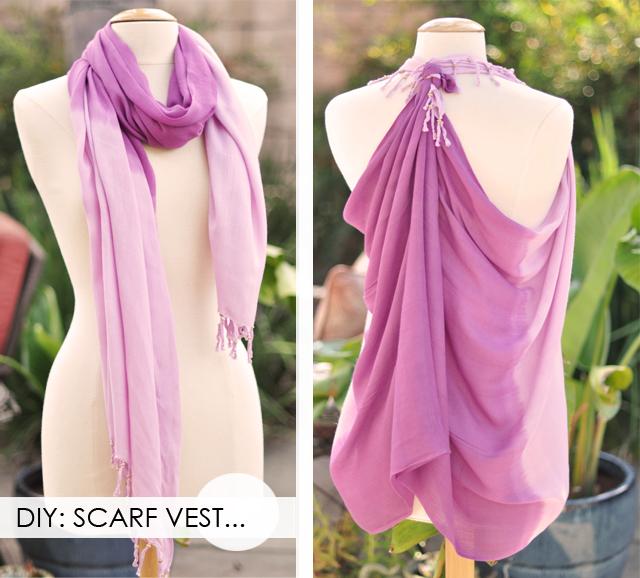 diy scarf vest, turn a scarf into a vest