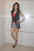Richa Panai Stunning in Peach Colored Top Black Transparent Jacket Shorts