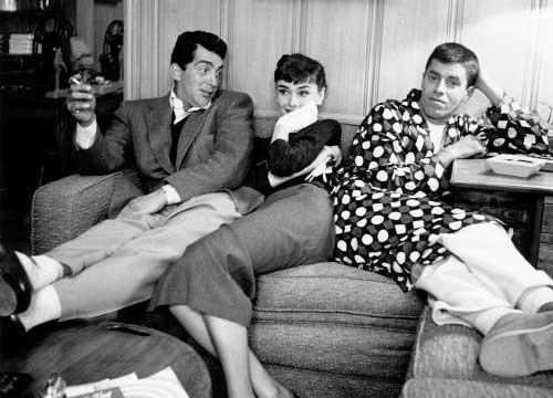 Dean Martin, Audrey Hepburn y Jerry Lewis