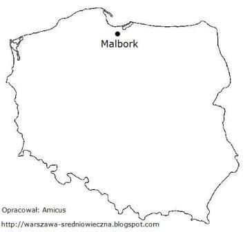 Mapa Polski z lokalizacją miejscowości Malbork