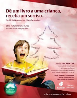 cartaz da campanha com criana sorridente com livro nas mos